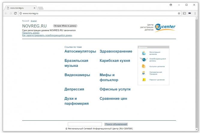 Скриншот сайта novreg.ru.
