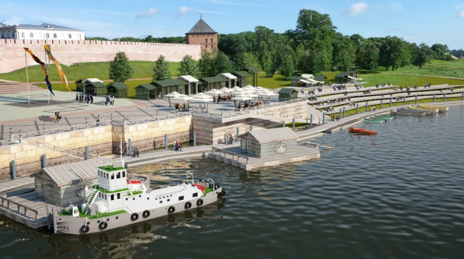 Слайд из презентации «Концепция обустройства набережных и прилегающих территорий в исторической части Великого Новгорода».