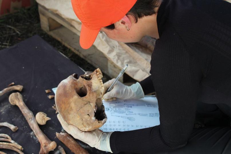 Обработка фрагментов скелета. © ИА РАН