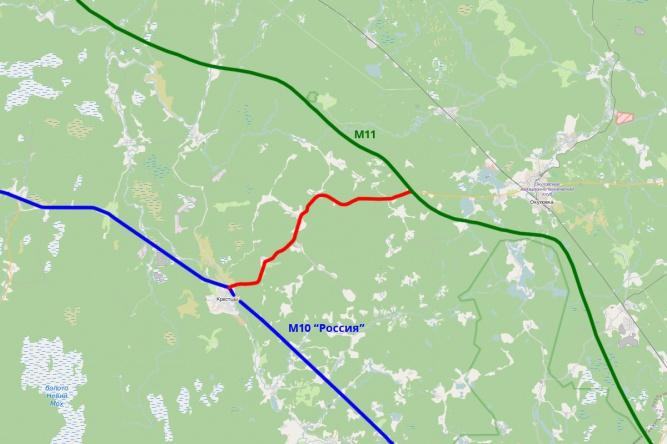 Участок автодороги Крестцы — Окуловка между М10 и М11.