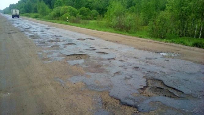 Участок дороги 49К-15 Шимск — Невель в Поддорском районе. © Денис Щербаков