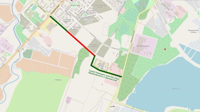Красным цветом отмечен участок, который планируют достроить до 1 сентября 2018 года.