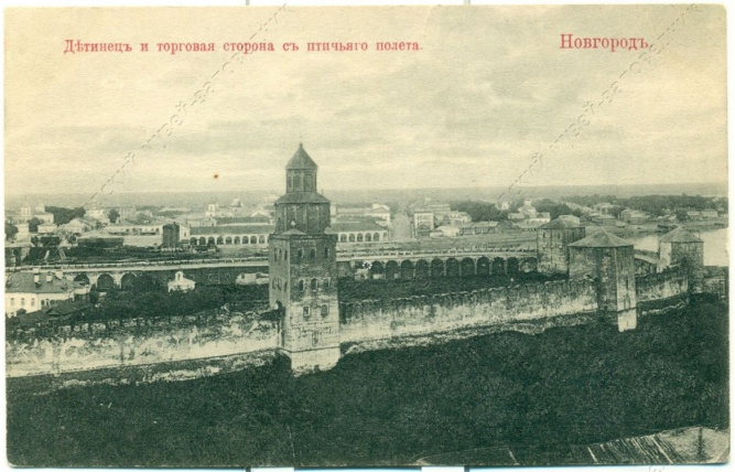 Детинец и торговая сторона с высоты птичьего полета. © Фото с сайта novgorodmuseum.ru