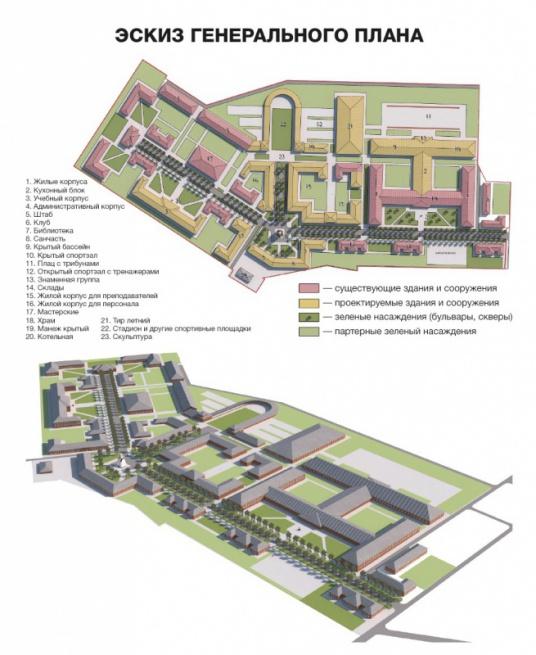 Кадетский корпус. Эскиз генерального плана. © Изображение с сайта bf-an.ru