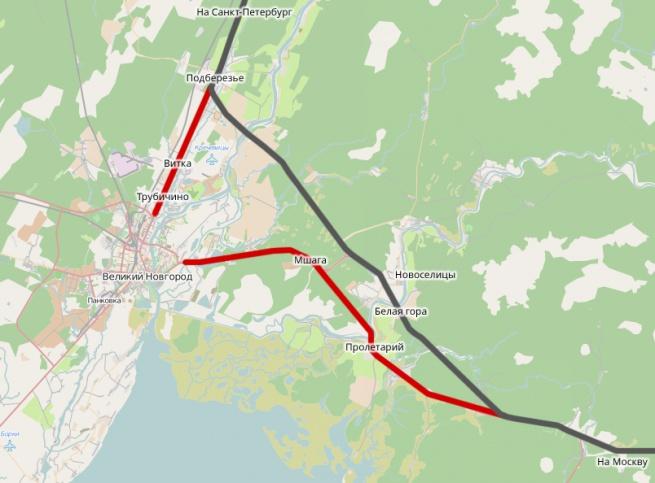 Красным цветом отмечены подъездные пути к Великому Новгороду.