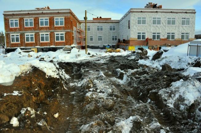 Строящийся детский сад в Малой Вишере. © Фото Виталия Левицкого с сайта правительства Новгородской области