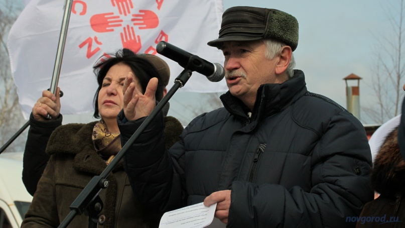Юрий Коровин выступает на митинге в Окуловке в марте 2019 года. © Фото из архива интернет-портала «Новгород.ру»