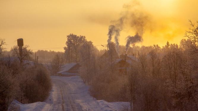 Морозное утро в Демянском районе.