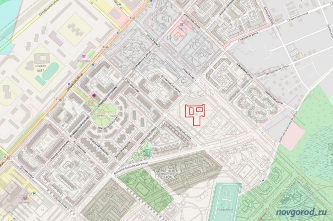 Расположение школы, из проекта планировки части территории кварталов 147 и 148 Псковского жилого района. © OpenStreetMap.org, Новгород.ру