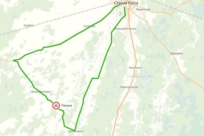 Красным обозначен участок, движение по которому прекращено, зелёным — пути объезда. © novgorodavtodor.ru