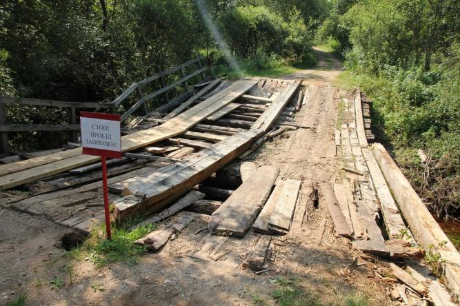 Мост до деревень Ивановское и Лялино.