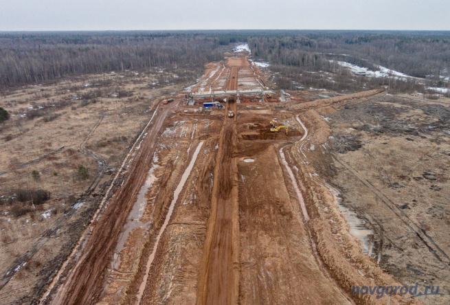 Строительство трассы М11, март 2015 года. © Фото из архива интернет-портала «Новгород.ру»