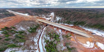 Панорама: Строительство моста через реку Веребушка