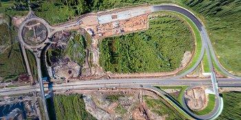 Панорама: Строительство М11: развязка на пересечении с автодорогой Новоселицы — Папоротно