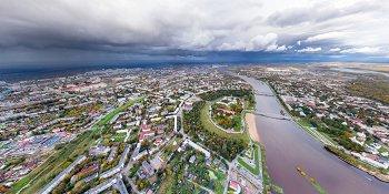 Панорама: Новгородский кремль, Белая башня, река Волхов и озеро Ильмень