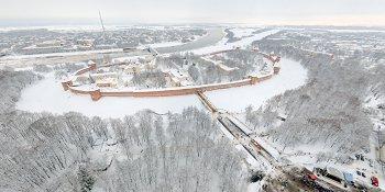 Панорама: Новгородский кремль и кремлевский парк
