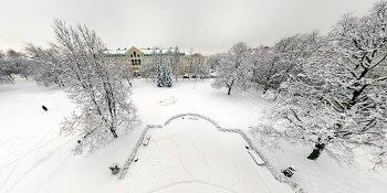 Панорама: Сквер Лёни Голикова после снегопада