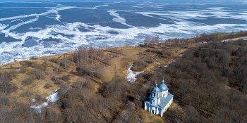 Панорама: Лёд на озере Ильмень, Коростынь