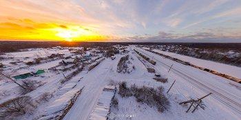Панорама: Станция Лычково на закате