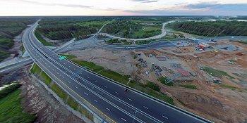 Панорама: Развязка на пересечении платной автомагистрали М11 и дороги Валдай — Угловка