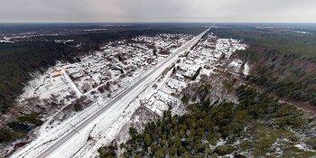 Панорама: Деревня Краснёнка и одноименная станция